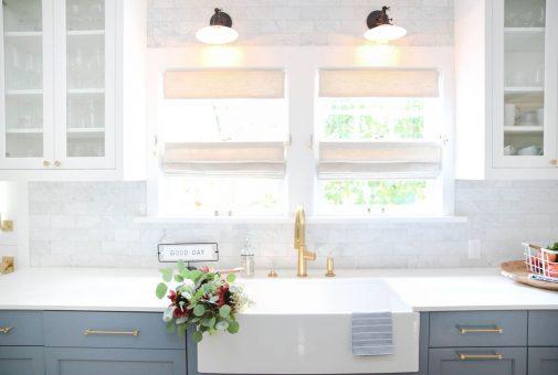 kitchen, white kitchen, blue kitchen, modern kitchen, farmhouse kitchen, marble subway tile, farmhouse sink, brass plumbing